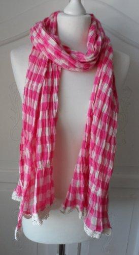 cooler Vichy Karo Schal mit Spitze Pink Weiß Oktoberfest