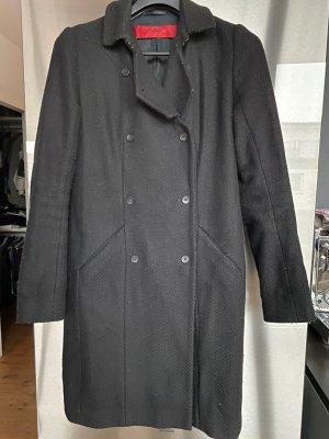 cooler Winter Mantel HUGO Wollmischung zweireihig, Strukturstoff, schwarz