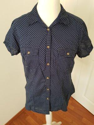 cooles hemd bluse gepunktet gr.40/42 dunkelblau