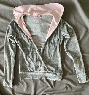 Felpa con cappuccio grigio chiaro-rosa pallido Cotone