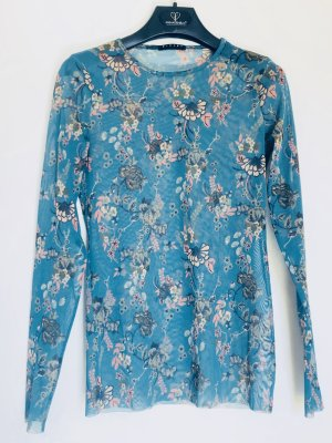 Cooles Langarmshirt Tüll transparent floral tolle Farbe