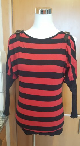 EMP Stripe Shirt black-brick red