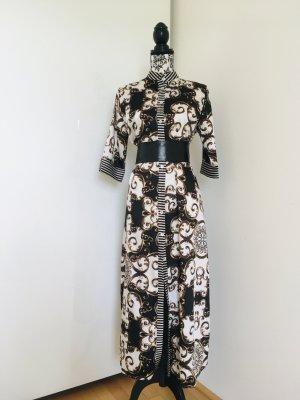 Gabardina tipo vestido blanco-negro Poliéster