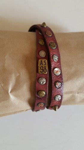 A.S.98 Bracelet en cuir bordeau cuir