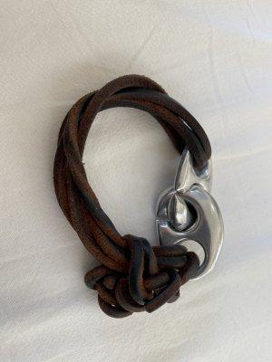 Bracelet en cuir brun foncé-brun cuir