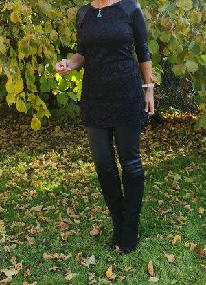 Cooles Longshirt/Minikleid aus Materialmix von Leder/Spitze