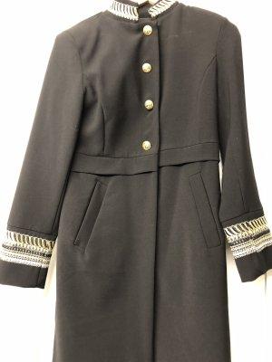 0039 Italy Marynarski płaszcz czarny-złoto