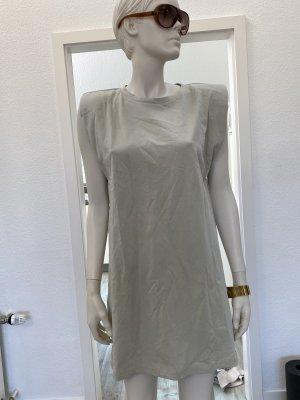 Zara Geklede jurk licht beige Katoen
