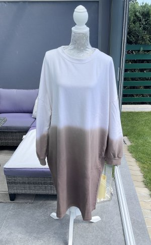 100% Fashion Robe Sweat blanc-marron clair