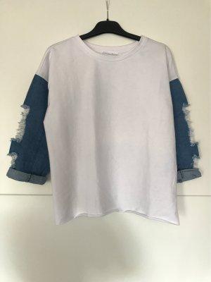 yfl RESERVED Koszulka oversize biały-stalowy niebieski