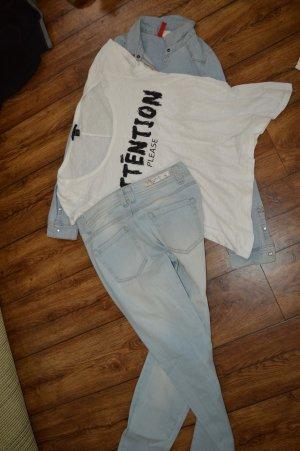 Cooles Shirt weiss Shirt von Amisu Gr. 36