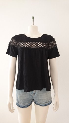 H&M Boatneck Shirt black cotton