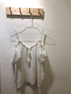 Abercrombie & Fitch Frill Top white