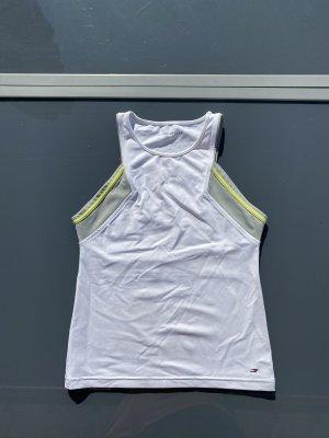Hilfiger Sport Top sportowy biały Tkanina z mieszanych włókien