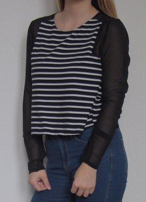 Minkpink Camisa recortada negro-blanco Algodón