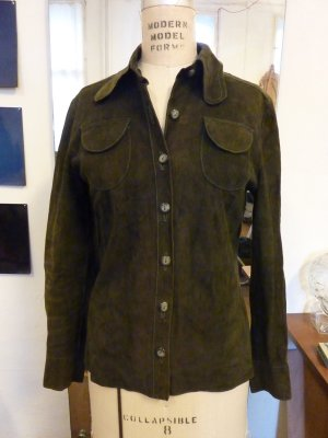 Leather Shirt forest green suede