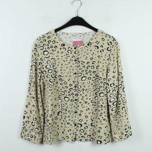 COOPERATIVE Bluse Gr. M beige schwarz gemustert (20/01/092)