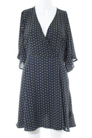 Cooperative Kurzarmkleid dunkelgelb-dunkelblau Blumenmuster Casual-Look
