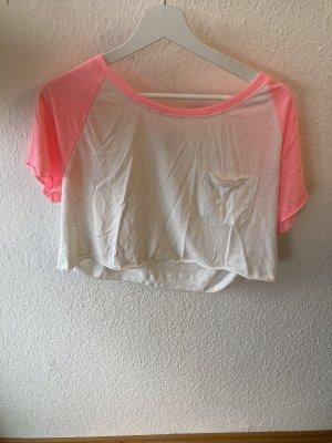 H&M Koszula o skróconym kroju różowy neonowy-biały