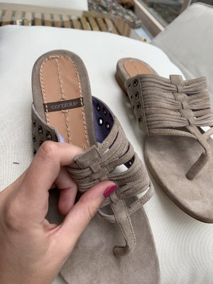 CB by Coral Blue High-Heeled Toe-Post Sandals taupe-grey brown