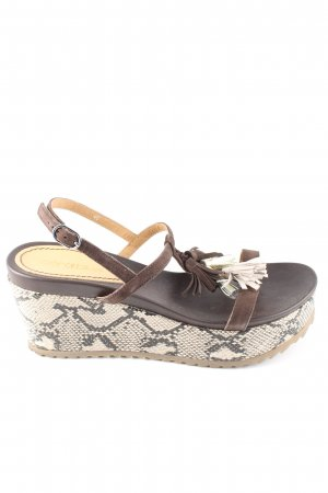 Coralblue Strapped High-Heeled Sandals cream-brown animal pattern casual look
