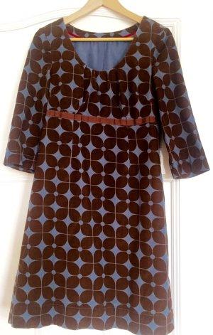 Boden Sukienka z odcięciem pod biustem brązowy-chabrowy Bawełna