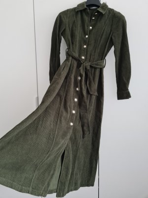 Cord Kleid in Grün Zara XS