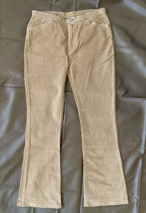 Pantalon en velours côtelé crème