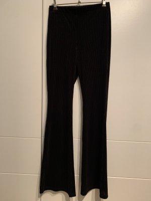H&M Broek met wijd uitlopende pijpen zwart Corduroy