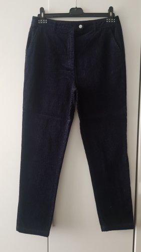 Pantalon en velours côtelé bleu foncé-noir
