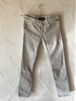 Replay Jeans skinny gris clair coton