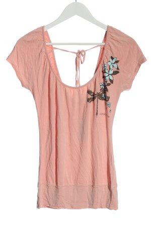 cordon jeans Top à col bateau rose motif de fleur style décontracté