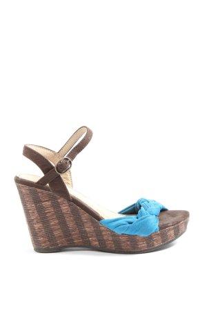 Corina Sandały klinowe na obcasie brązowy-niebieski W stylu casual