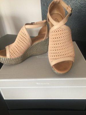 Sandalo alto con plateau color carne Tessuto misto