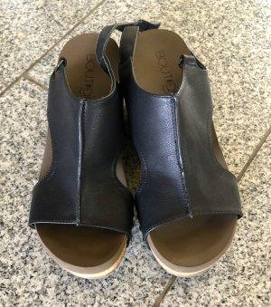 Sandalias con plataforma negro-marrón claro tejido mezclado