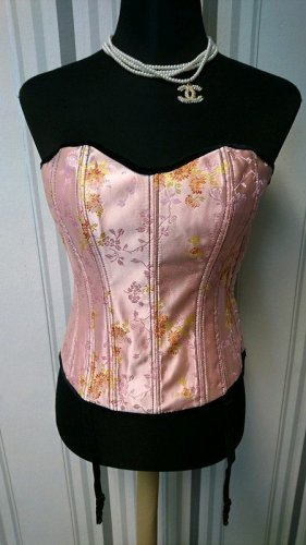 Corsage noir-rose tissu mixte
