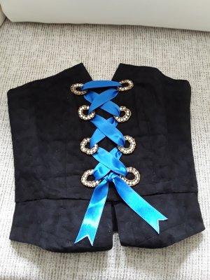 Corsage mit blauem Satin Band, Gr. 34, schwarz