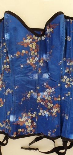 Corsage Satin blau mit Blütenmuster Gr 38