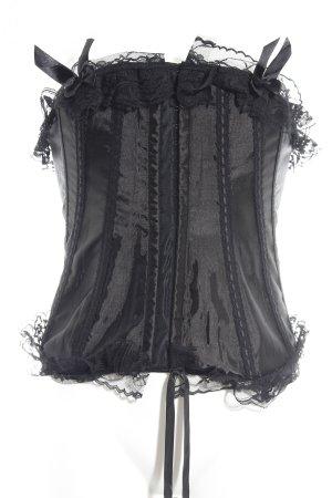 Gorset czarny Tkanina z mieszanych włókien