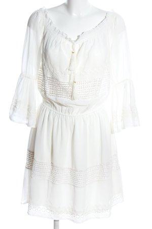 Vestido corsage blanco estampado gráfico elegante