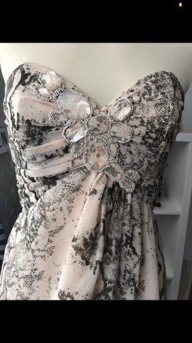 Corsagenkleid Gr. 36 S Animalprint Kleid beige schulterfrei