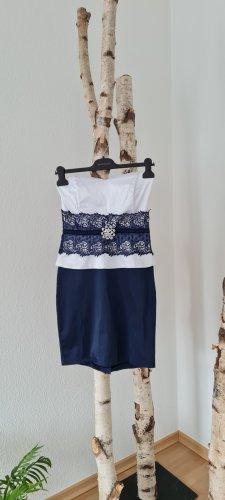 Sukienka z gorsetem ciemnoniebieski-biały