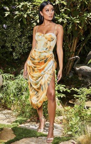 PrettyLittleThing Bustier Dress gold orange