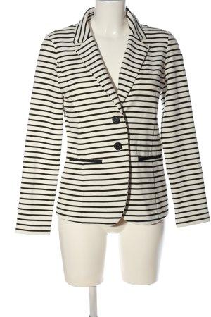 Cortefiel Blazer corto bianco-nero motivo a righe stile casual