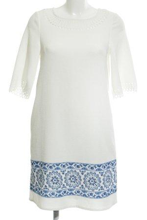 Cortefiel Kurzarmkleid weiß-blau