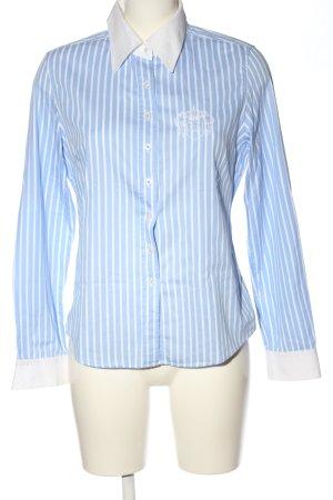 Cortefiel Langarmhemd blau-weiß Allover-Druck Casual-Look
