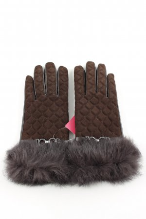 Cortefiel Leather Gloves brown quilting pattern casual look