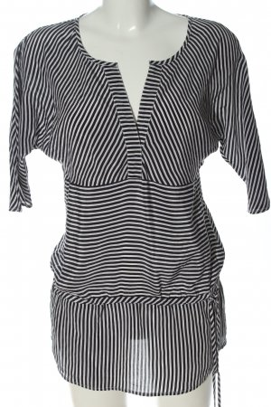Cortefiel Long Blouse black-white striped pattern casual look
