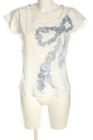 Cortefiel T-Shirt weiß-blau Motivdruck Casual-Look