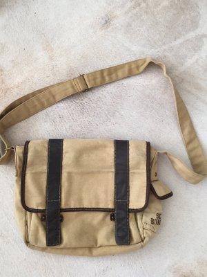 Cortefiel Shoulder Bag gold-colored-dark brown cotton